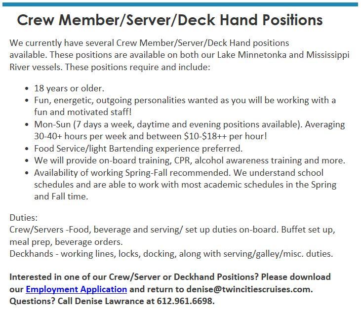 Crew Member posistion